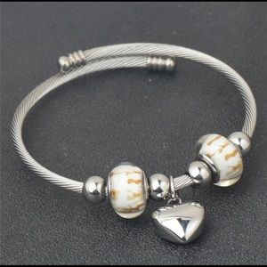 Pandora Charriol style bracelet Murano Heart Glass